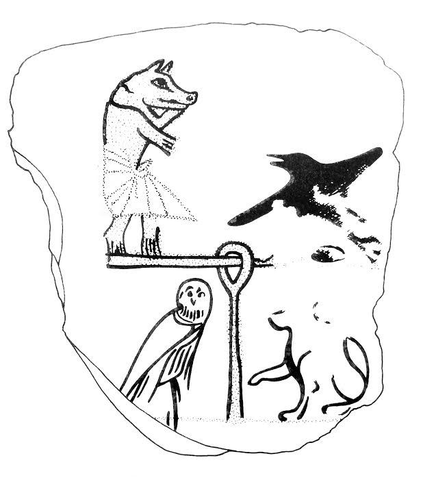 Owl in a Judgment scene. Ancient Egypt.